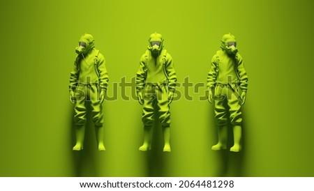 Green 3 Hazmat Suit Ravers with Green Background 3d illustration render