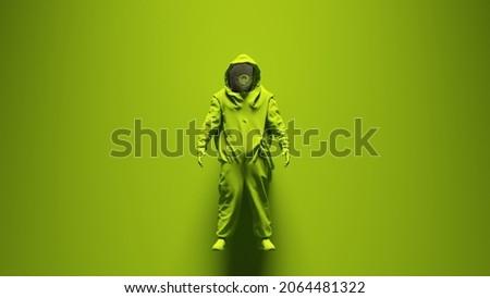 Green Hazmat Suit with Green Background 3d illustration render