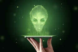 Green-headed alien with black large glass eyes. UFO concept, aliens, contact with extraterrestrial civilization. 3D illustration, 3D render