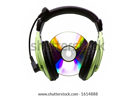 Green headphones and CD