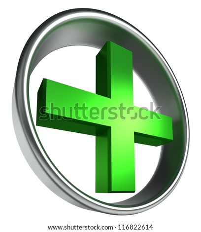 green health cross in round metal frame on white background. clipping path included