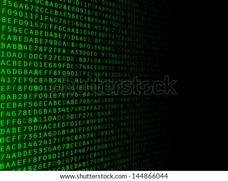 Green hexadecimal computer code fading to the right