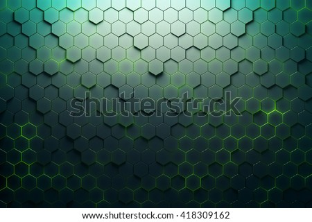 Green hexagon pattern. 3D Rendering