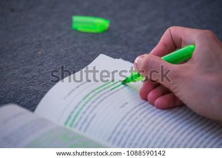 Green Highlight Highlighter Held By Girl Woman Hand School Study Book Marking