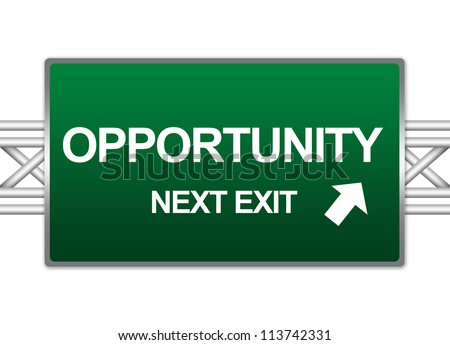 Green Highway Street Sign For Job Seeker Concept Present By Opportunity Next Exit Sign Isolate on White Background