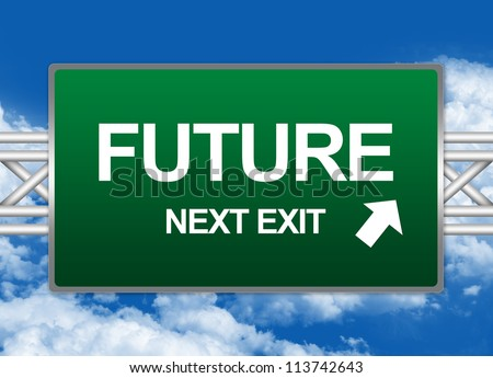 Green Highway Street Sign For Time Management Concept Present By Future Next Exit Sign Against A Blue Sky Background