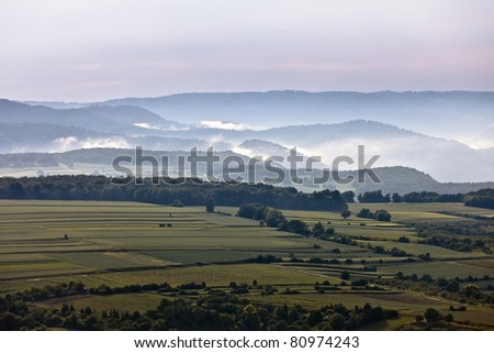 green hill in the fog