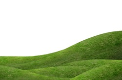Green hill of grass field isolated on white background.