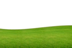 Green hill of grass field isolated on white background with clipping path.