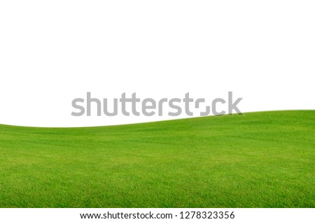 Green hill of grass field isolated on white background with clipping path.  #1278323356
