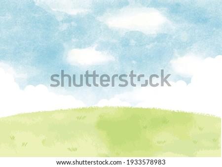 Green hills and blue sky with watercolor background