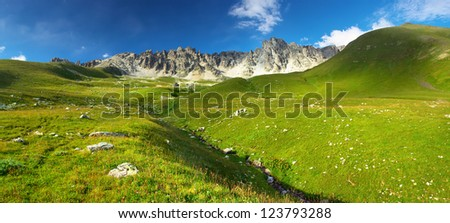Green hills and high rocks. Natural landscape