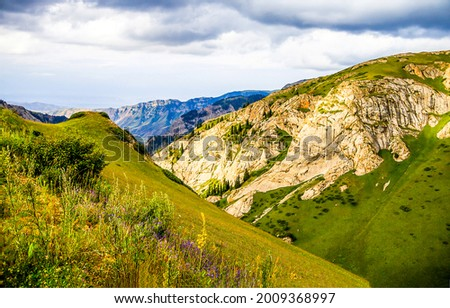 Green hills and mountains landscape. Mountain hills view. Mountain landscape