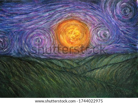 Green hills and sun. Painting in Van Gogh style. Stylized landscape. Impressionistic background. Hand Painted fields and fantastic sky with stars. Creative design.