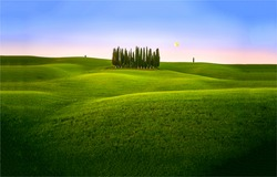 Green hills in the early morning.Summer green hills landscape. Summer green hills at dawn