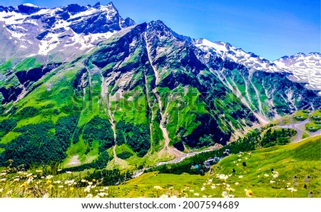 Green hills in the mountains. Mountain landscape. Mountain green landscape