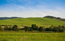 Green hills near Cerveny Klastor in Pieniny mountains, Slovakia