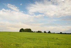 Green hills of a plowed agricultural field and forest. Idyllic summer rural scene. Dramatic sky after the rain. Pure nature, environnement, farm, countryside living, ecotourism. Panoramic view