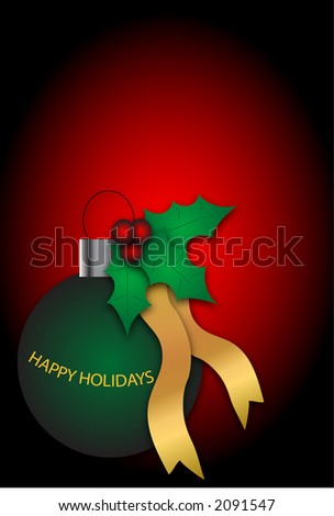 Green Holiday  ornament with  \