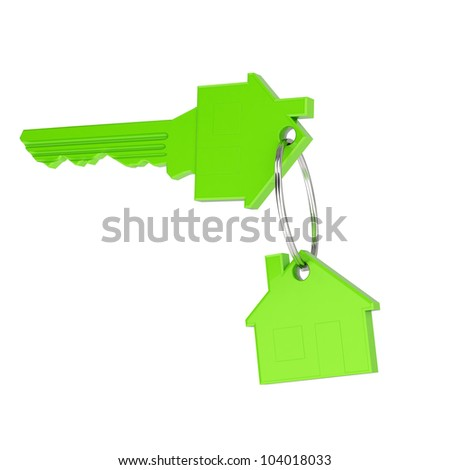 green Home Key with green eco house key-chain