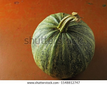Green homegrown organic pumpkin on a red floor surface.