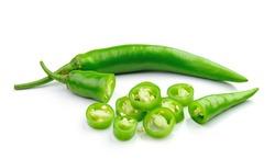 Green hot chili pepper on white