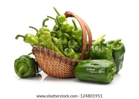 Green Hot Pepper on white background