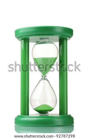 green hourglass isolated on white