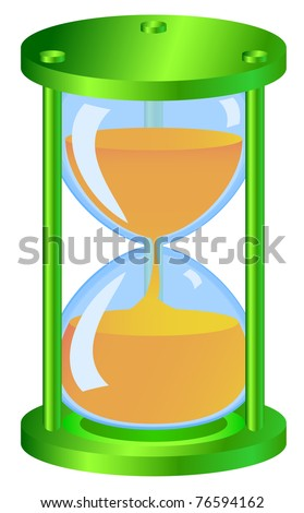 Green hourglass made ??as icons with glossy surfaces