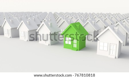 Green house among white houses. Hunting and searching concept. 3D Rendering