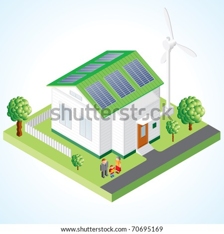 Green House concept - Isometric composition of small house with ecological equipment - solar cells and wind turbine