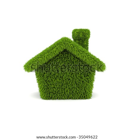 green house ecology on white background