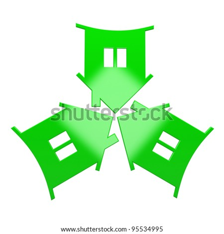Green house icon. Isolated on white background
