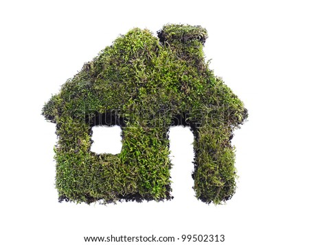 Green house icon shaped from moss isolated on white