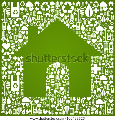 Green house symbol over environment icons background.