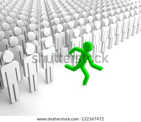 Green Human Figure Running from the Crowd of Gray Indifferent Humans
