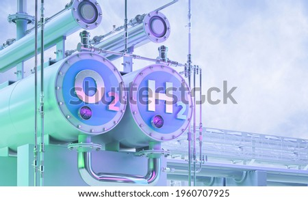 Green Hydrogen, future energy h2 fuel 3D illustration. Green hydrogen production by electrolysis technology, renewable electricity, alternative eco way of getting hydrogen H2, cut industry emissions Foto stock ©