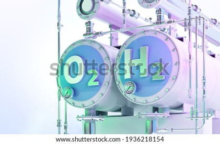 Green Hydrogen, the fuel of the future 3D illustration. Production of green hydrogen by electrolysis powered by renewable electricity, cleaner way of getting hydrogen H2, cut emissions from industries Foto stock ©