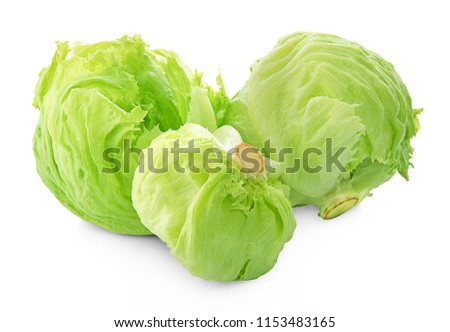 Green Iceberg lettuce on White Background #1153483165