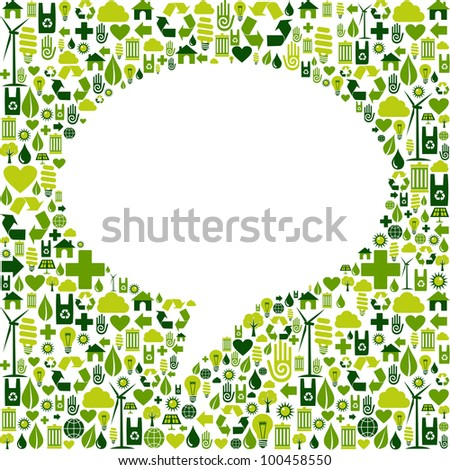 Green icons set in social media speech bubble background.