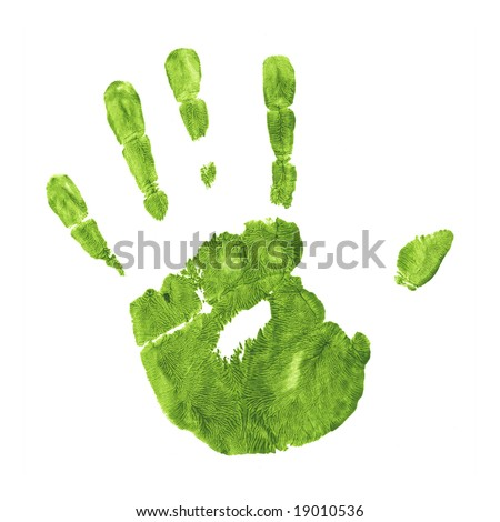Green Impression of Hand Against a Flat Surface
