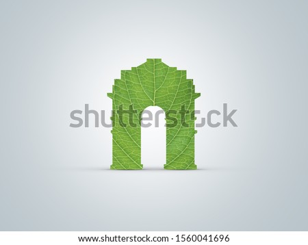 Green India Gate Delhi -Green Delhi Green India Delhi air Pollution create problem. Ecology concept with green India gate on leaf Delhi environment and sustainable development concept. Environment day