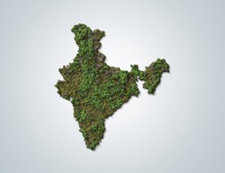 Green India-India map green concept. trees  shape of India map isolated on white background. India green map- Environment day concept.