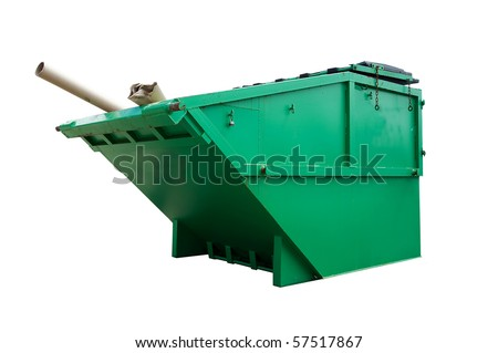 Green Industrial Waste Bin Isolated Over White