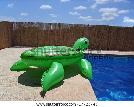 Green Inflatable Turtle Near The Swimming Pool Stock Photo 17723743 Shutterstock