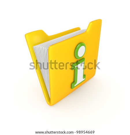 Green Info symbol on a yellow folder.Isolated on white background.3d rendered.