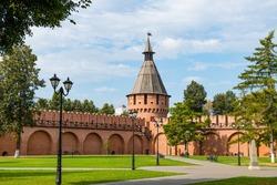 Green Internal yard of Tula Kremlin with walls and tower