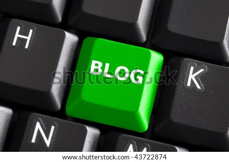 green internet blog concept with button on computer keyboard