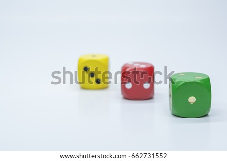 Green is the winner, Dice green, red and yellow, white background #662731552