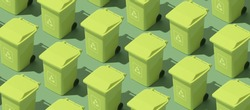 Green isometric garbage bins background, waste collection and ecology concept